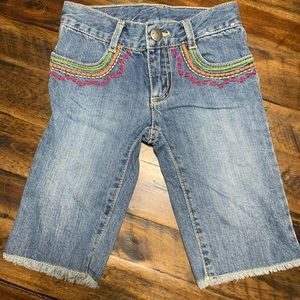 Gymboree embroidered rainbow frayed jeans
